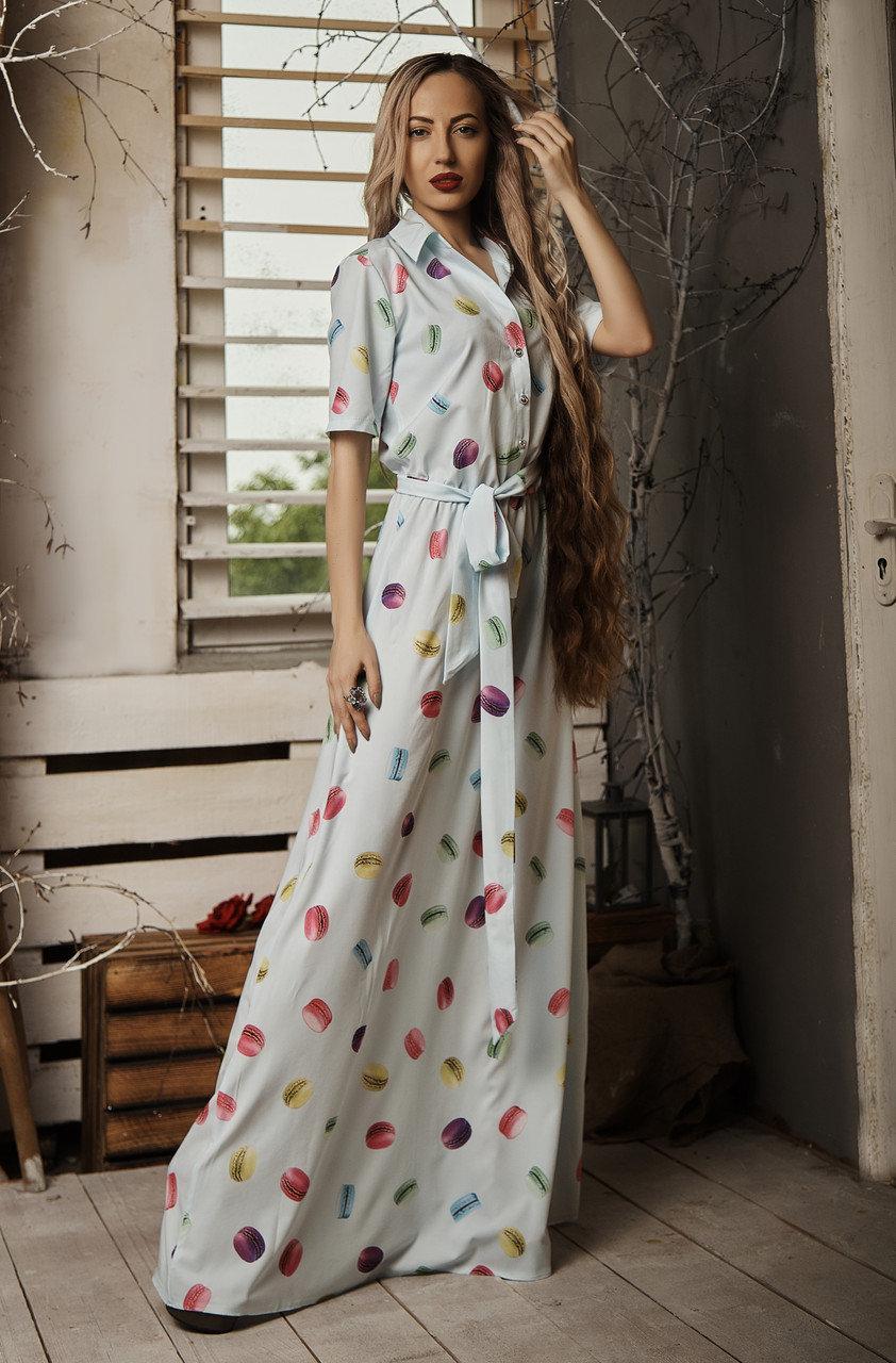 Літнє довге плаття з оригінальним принтом блакитне