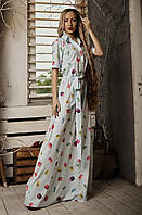 Літнє довге плаття з оригінальним принтом блакитне, фото 1