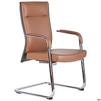Конференц кресло офисное кожаное для посетителей на полозах AMF Jeff коричневое/темно-серое