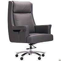 Кресло офисное для руководителя мягкое кожаное компьютерное AMF Franklin серое