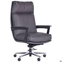 Кресло офисное для руководителя мягкое кожаное компьютерное AMF Kennedy серое