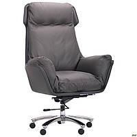 Кресло офисное для руководителя мягкое кожаное компьютерное AMF Wilson серое