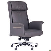 Кресло офисное для руководителя мягкое кожаное компьютерное AMF Truman серое