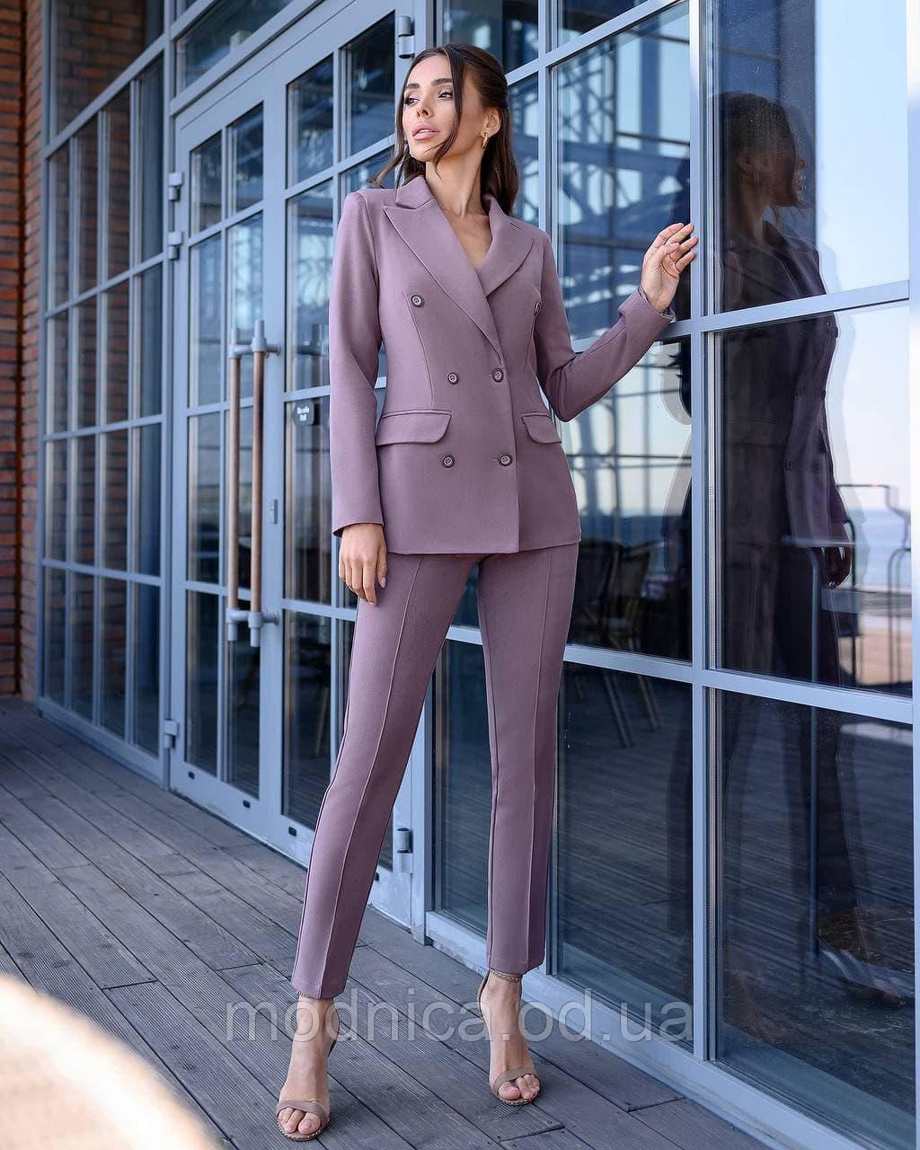 Деловой женский костюм двойка из тиара пиджак брюки, размеры XS, S, M, L
