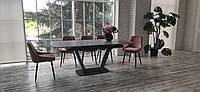 Оригинальный стол на кухню прямоугольный Vetro TML-870 160-200 см серый лед