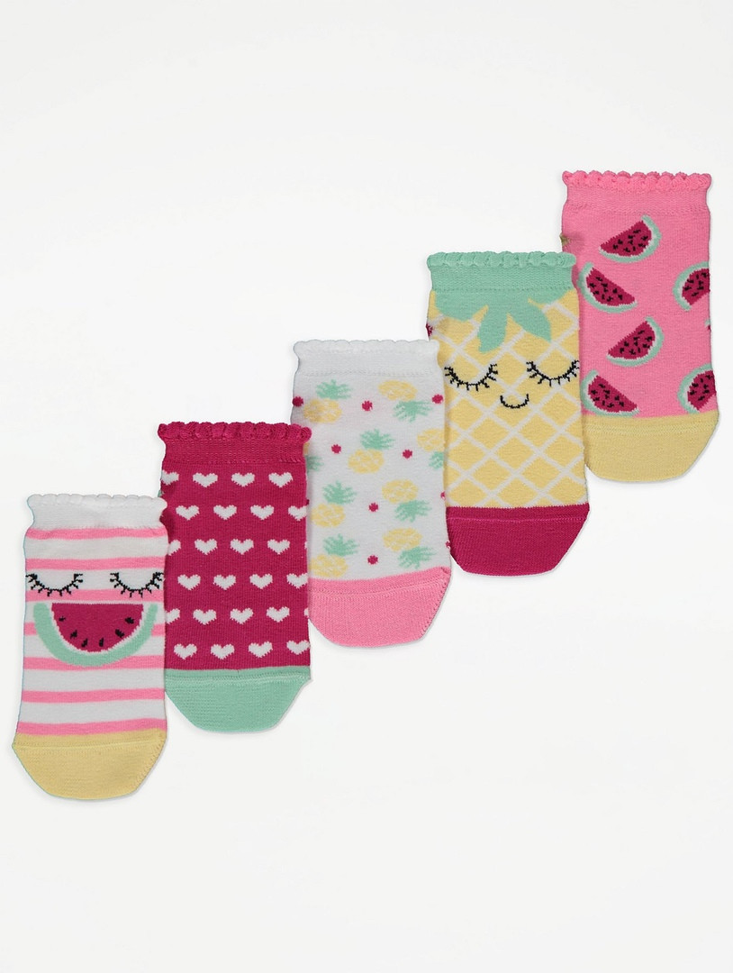 Набір занижених шкарпеток з фруктовим принтом - 5 пар для дівчинки Джордж