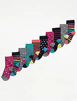 Набір якісніх шкарпеток із різноманітним принтом - 10 пар для дівчинки Джордж