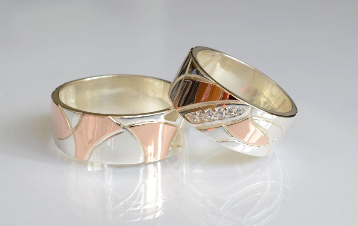 Пара срібних обручок з пластинами золота Обр3435