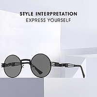 Круглые черные стимпанк очки ретро стиль