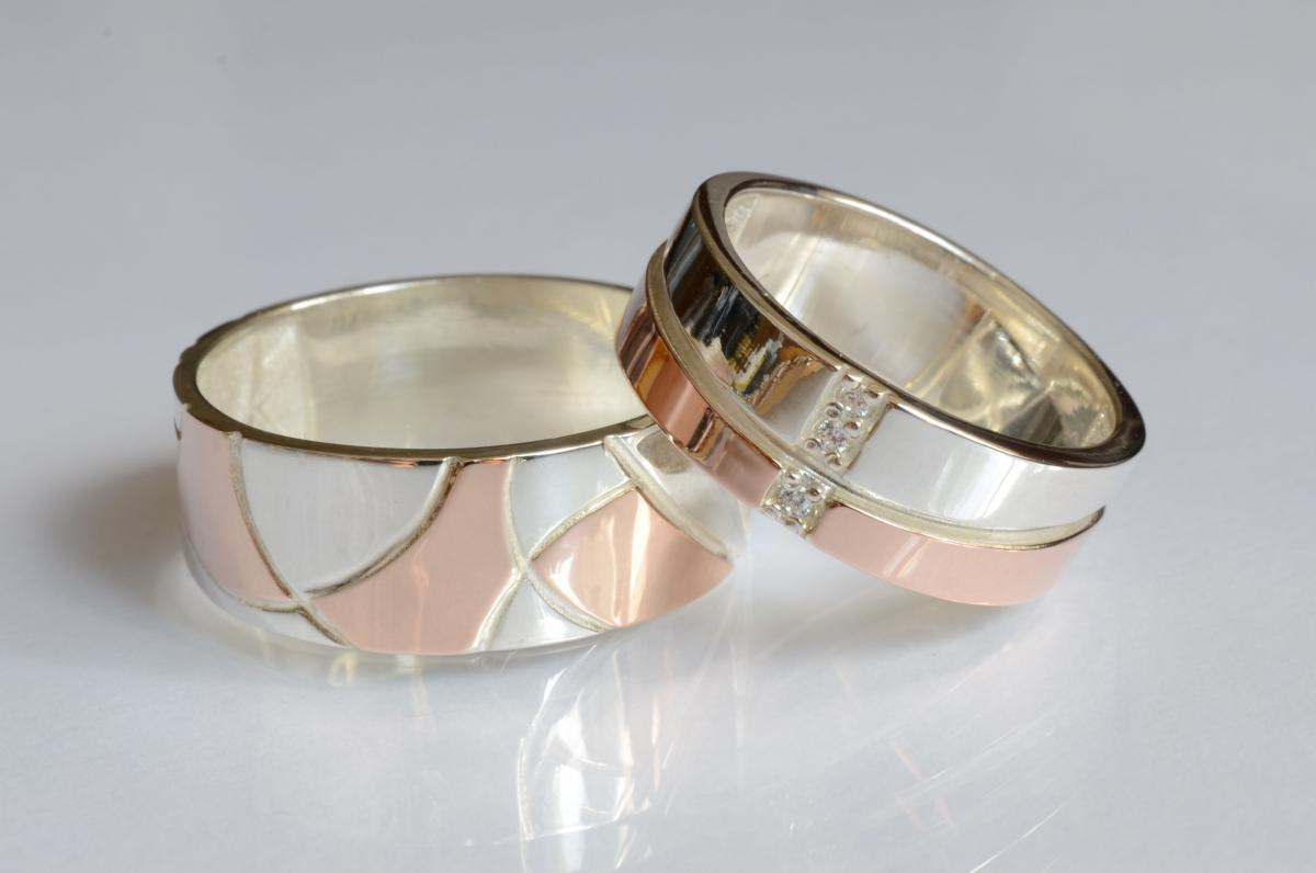 Пара срібних обручок з пластинами золота Обр7Обр35