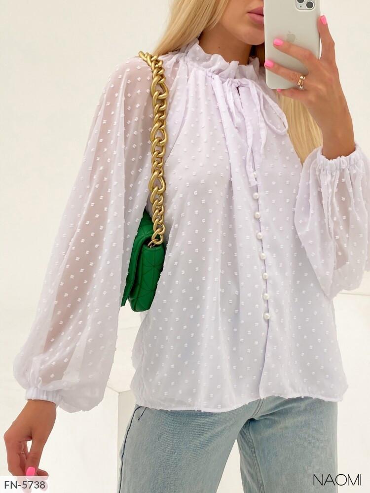 Шикарная нарядная блуза из шифона на подкладке на пуговицах длинный рукав легкая и нежная р-ры 42-48 арт. 940