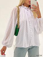 Шикарная нарядная блуза из шифона на подкладке на пуговицах длинный рукав легкая и нежная р-ры 42-48 арт. 940, фото 1