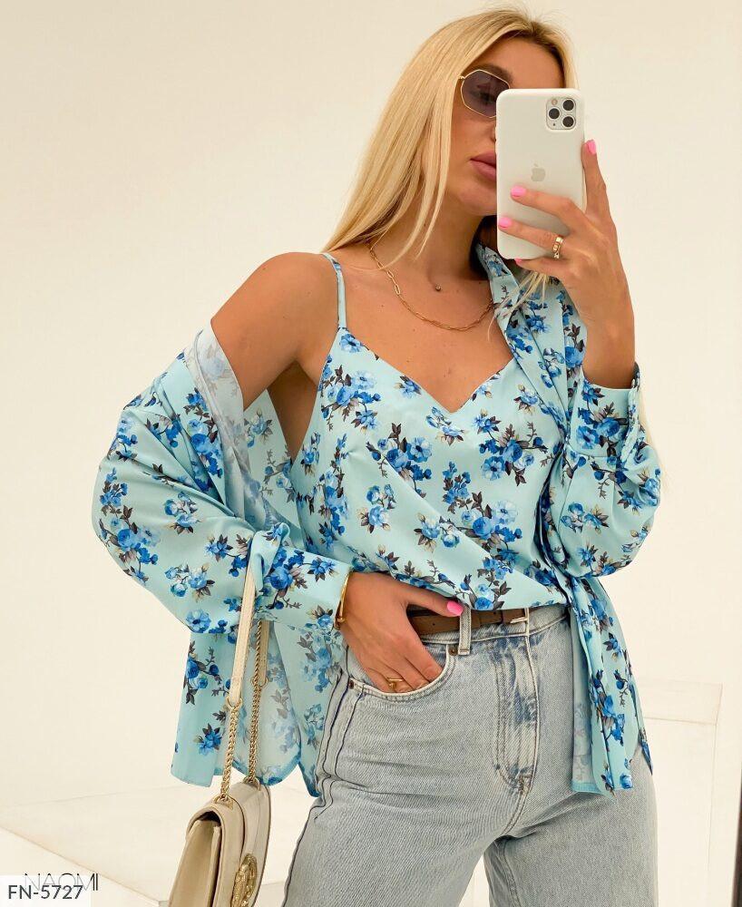 Стильный комплект блуза с маечкой на лето из софта размер универсальный 42-46 арт.  944