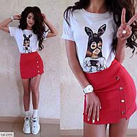 Стильная короткая джинсовая юбка мини стрейчевая молодежная по фигуре р-ры 42-44 арт. 2951/3669