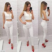 Джинсові штани жіночі тонкі літні облягаючі джеггінси з кишенями р-ри 42-48 арт. 1009
