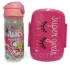"""Набір """"Alice – Аліса в країні чудес"""". Пляшка з трубочкою і Контейнер (ланч бокс), фото 2"""