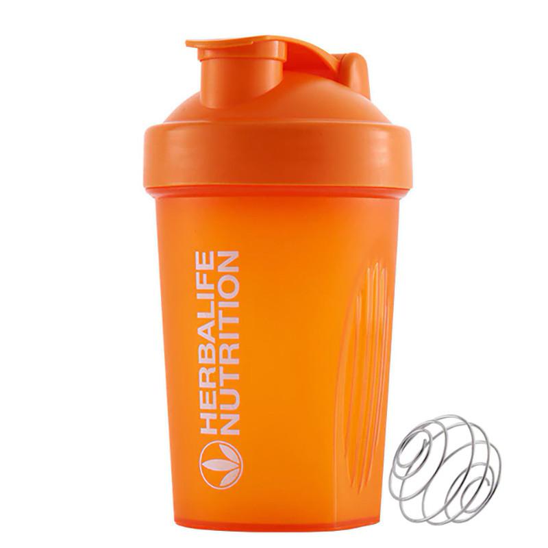 Спортивна пляшка-шейкер Lesko HC752 з пружиною для коктейлів 400 ml Помаранчевий (4908-14354a)