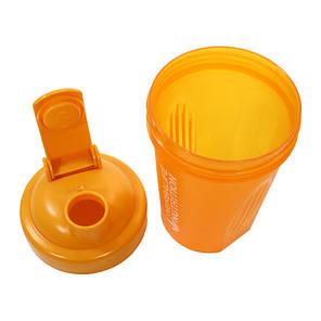 Спортивна пляшка-шейкер Lesko HC752 з пружиною для коктейлів 400 ml Помаранчевий (4908-14354a), фото 2