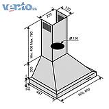 Ventolux Lazio 60 Inox кухонна витяжка камінного типу, нержавіюча сталь, фото 2