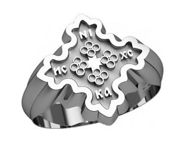Кольцо серебряное Православное 30289
