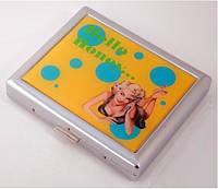 """Портсигар 80086 """"Hello Honey"""" д.18 KS сигарет, мет./хром, глянец, дизайн, пруж., фото 1"""