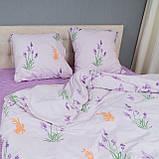 Комплект постільної Le Confort Квіти на білому Євро, фото 2