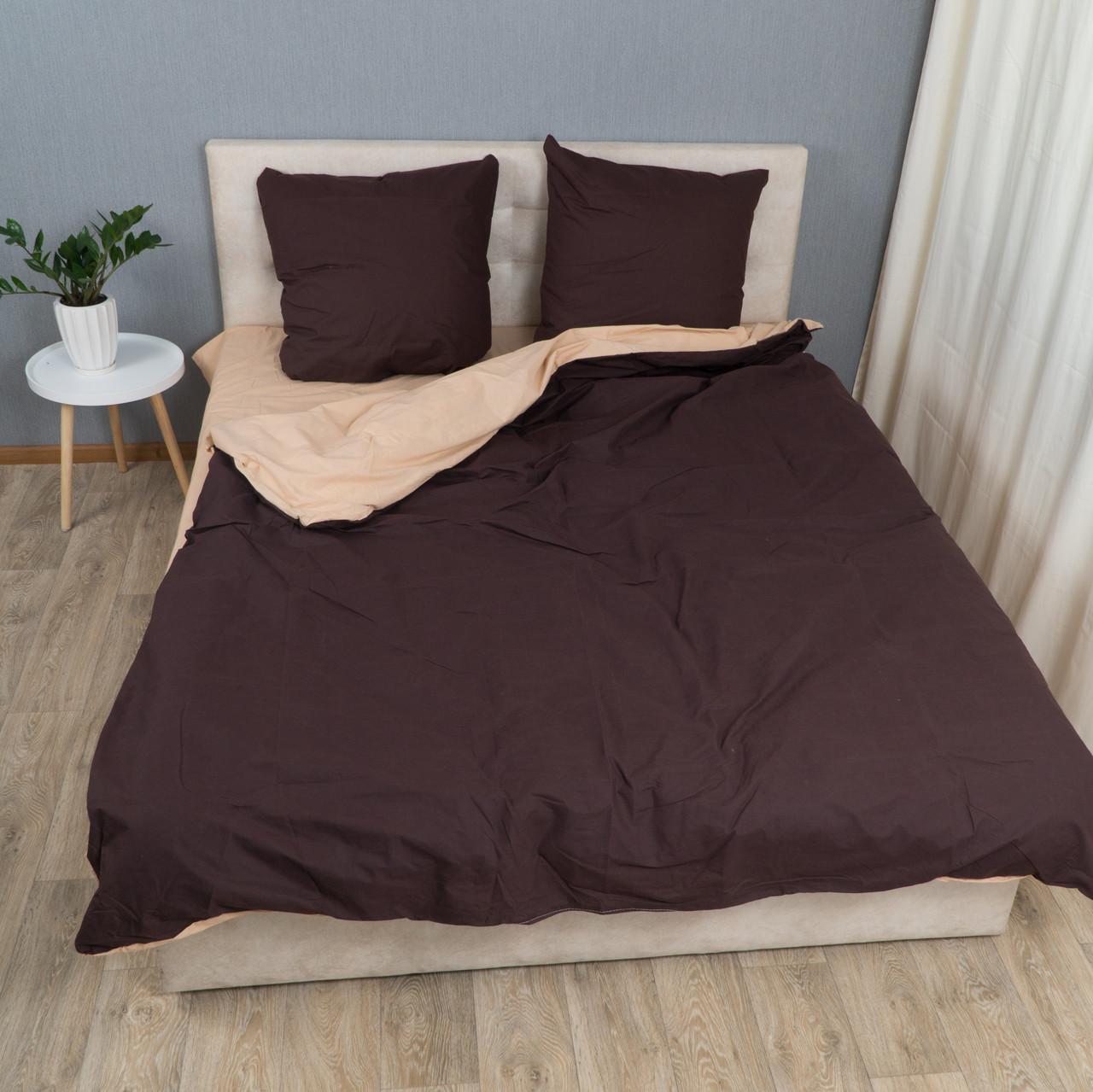 Комплект постельного белья Le Confort «Коричнево-бежевый» 200x220 Бязь