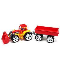 Трактор с прицепом, желтый 007/10 цветной