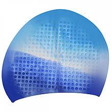 Шапочка для плавання на довгі волосся GP-007-blue-white