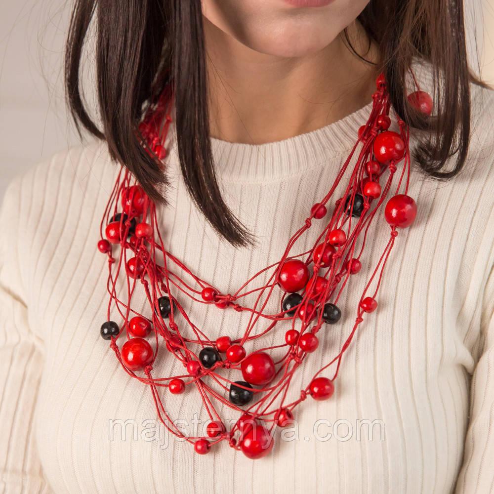 """Намисто з дерева """"Спогади Насті"""", червоні та чорні намистини на червоних нитках"""