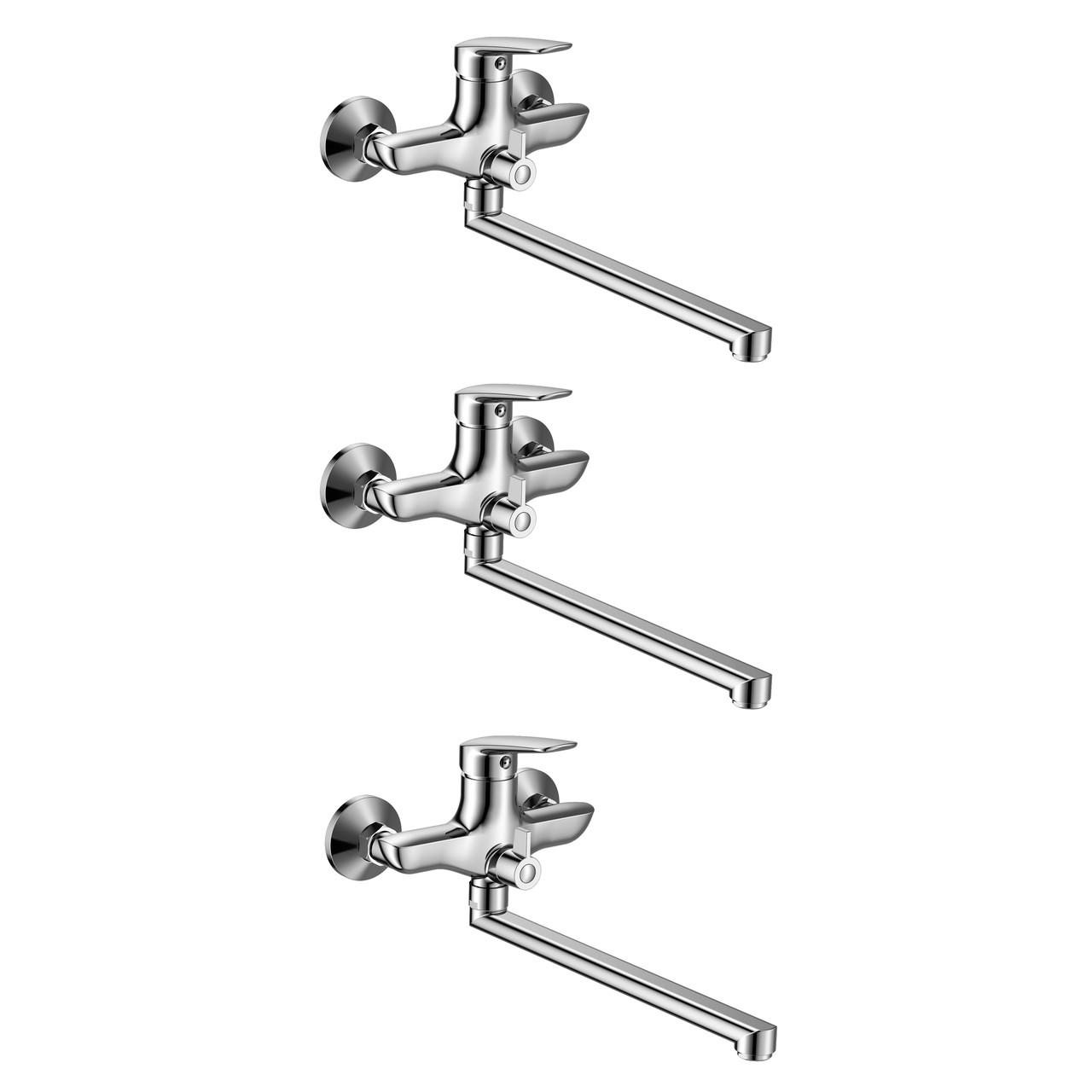 SET1+1=3 PRAHA new смеситель для ванны, L-излив 300 мм, хром, 35 мм