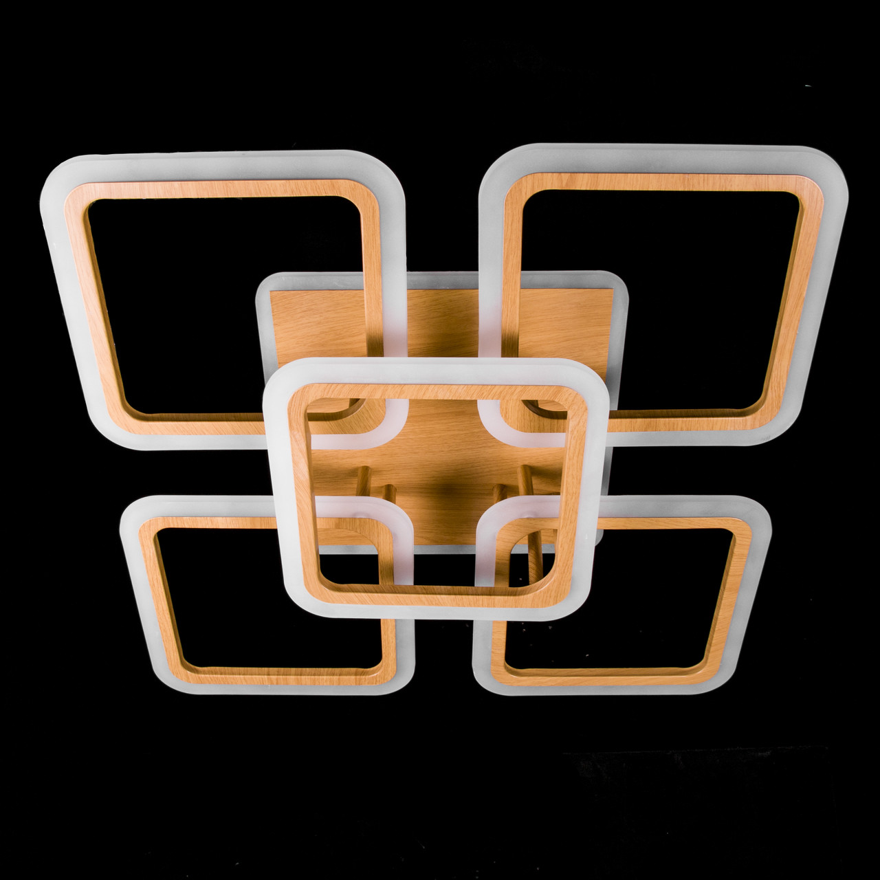 Потолочная светодиодная люстра с диммером и подсветкой основания P5-YH065/5/WOOD