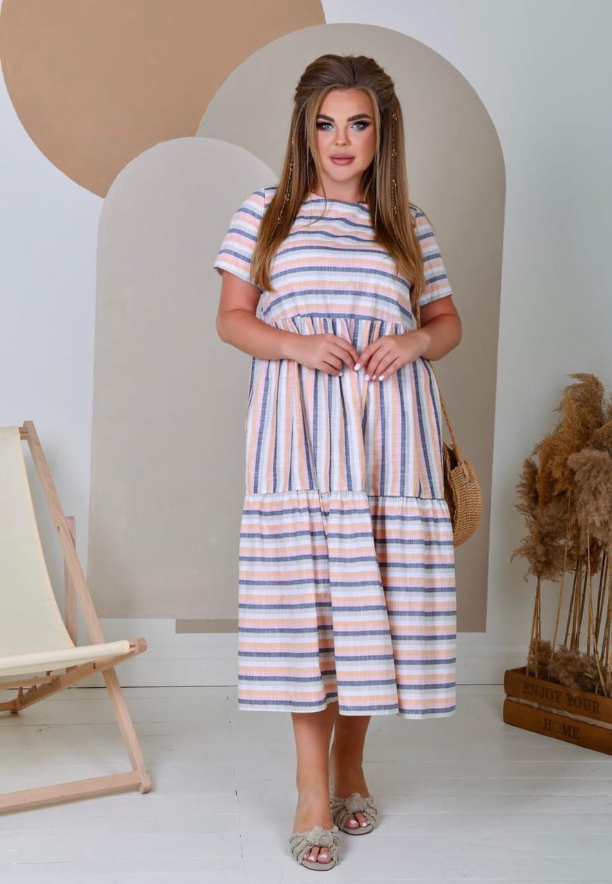 Літня лляна сукня вільного крою великих розмірів