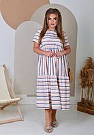 Літня лляна сукня вільного крою великих розмірів, фото 1