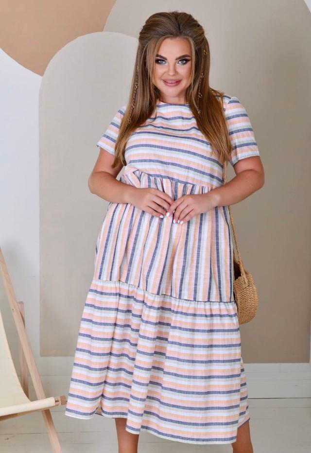 Летнее льняное платье свободного кроя больших размеров