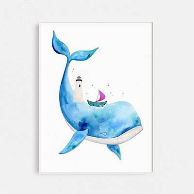 Плакат Watercolor Whale Кіт формат А3