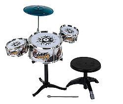 Барабанная установка детская со стульчиком Jazz Drum Серая