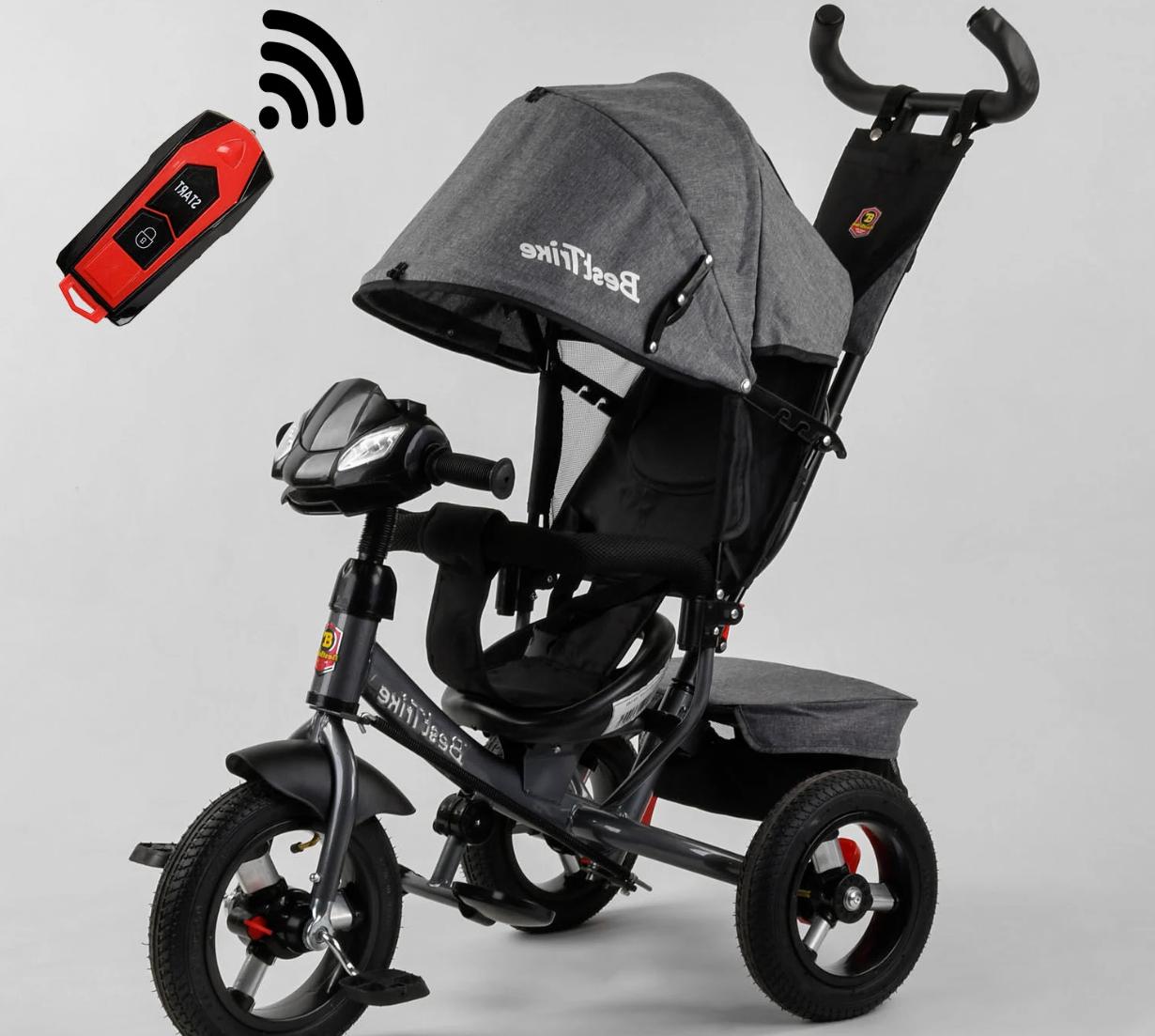 Детский трехколесный велосипед, надувные колеса, фара Usb, пульт, защитный козырек, Best Trike 3390 / 43-565