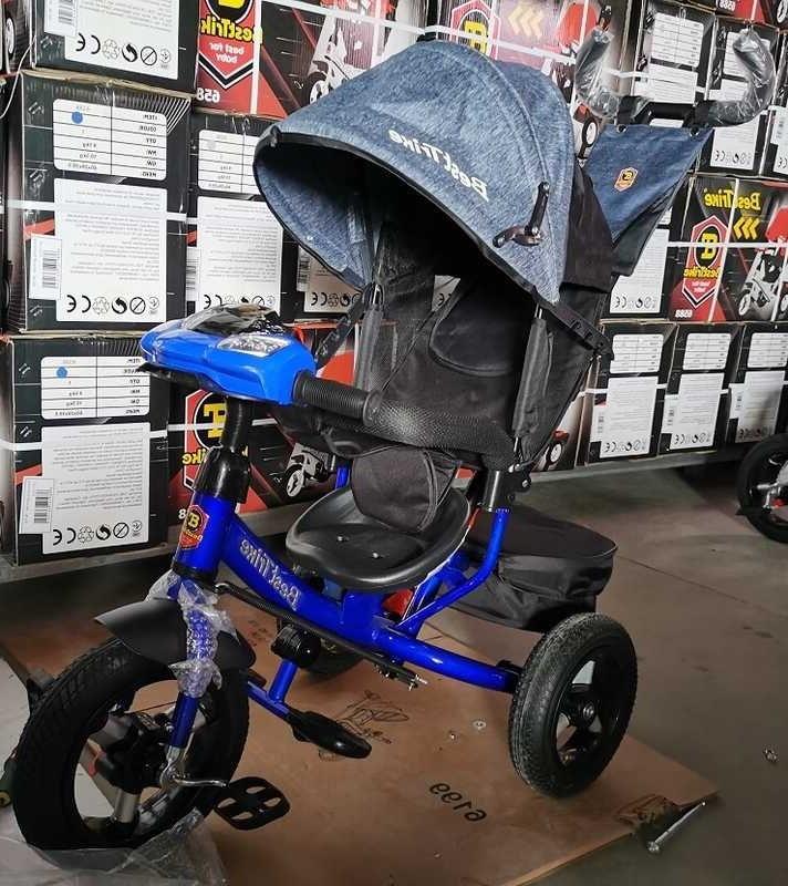 Детский трехколесный велосипед, надувные колеса, фара Usb, пульт, защитный козырек, Best Trike 3390 / 81-338