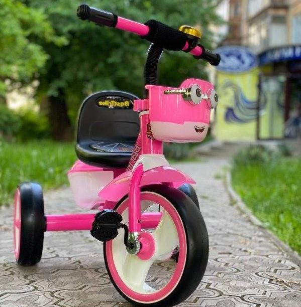 Детский трехколесный велосипед, колеса EVA со светом и звуком, звоночек, 2 корзины, Best Trike 94881
