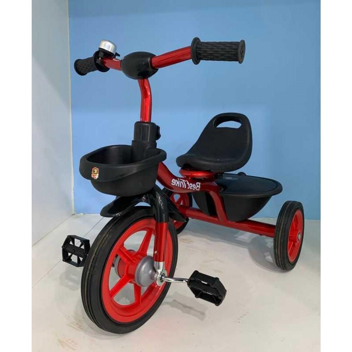Детский трехколесный велосипед, резиновые колеса, звоночек, 2 корзины, накладки на руле, Best Trike BS-1788