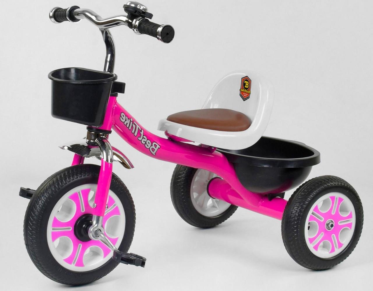 Дитячий триколісний велосипед, Eva колеса, дзвіночок, 2 кошика, металева рама, Best Trike LM-2806