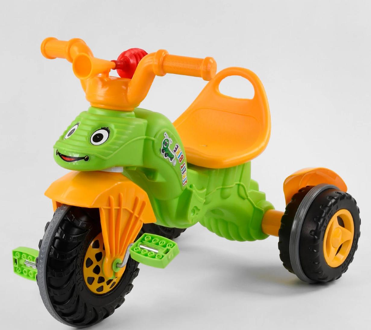 Дитячий триколісний велосипед, Eva колеса, клаксон на кермі, спинка з ручкою держателем, Pilsan 07-163