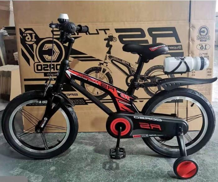 Детский велосипед, 16 дюймовые колеса, алюминиевые диски, бутылочка, магниевая рама, звонок, Corso 83564