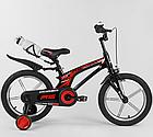 Детский велосипед, 16 дюймовые колеса, алюминиевые диски, бутылочка, магниевая рама, звонок, Corso 83564, фото 3
