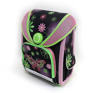 Рюкзак-коробка з магнітним замоком EasyLock Бабочк ортопедична спинка, світловідбиваючі елементи,37х28х16см