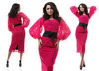 Гипюровое платье с объемными длинными рукавами(54)