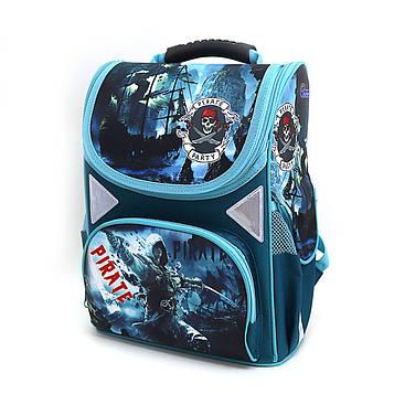 """Рюкзак коробка """"Pirate"""" 13,5"""" 34х26х14,5см Ортопедична спинка, світловідбиваючі елементи"""