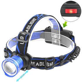 Ліхтар налобний Police XQ-24-T6, ЗУ 220V/12V, 2x18650, signal light, zoom, Box