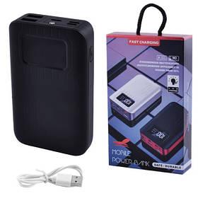 Power Bank JS-10X FAST CHARGING 10000mAh 2USB(1A+2A)+1Micro USB+ 1Type-C цифровой дисплей, фонарик 1LED